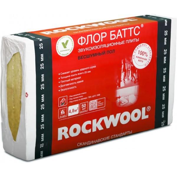 Базальтовый утеплитель Rockwool Флор Баттс 1000х600х25 мм